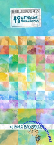 48 Watercolor Backgrounds - Creativemarket 60355