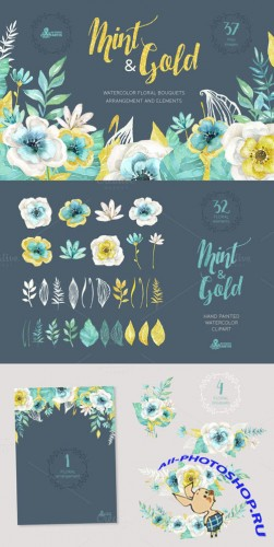 Mint & Gold Flowers - Creativemarket 254449