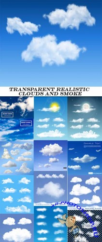 Transparent realistic clouds and smoke - vector collection