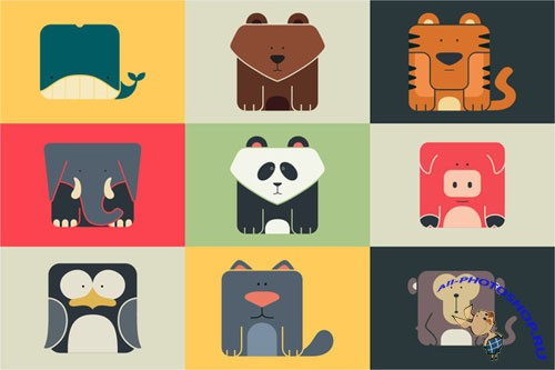 Set flat square icons of a animals - Creativemarket 22878