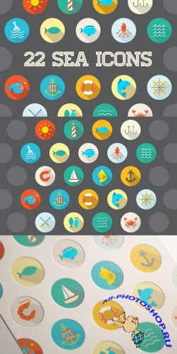 Awesome 22 Flat Vector Sea Icons - Creativemarket 201303