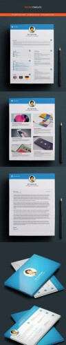 Clean Style Resume and Business Card PSD Template