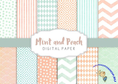 Creativemarket - Peach and mint patterns 275267