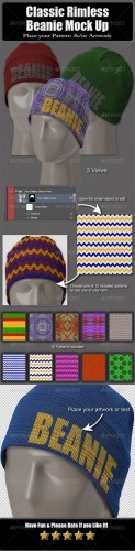 Graphicriver - Classic Rimless Beanie Mock Up 6290195