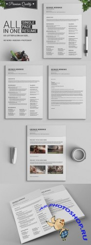 Creativemarket - All in One Single Page Resume Pack 265735