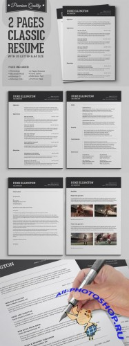Creativemarket - Two Pages Classic Resume CV Template 282144