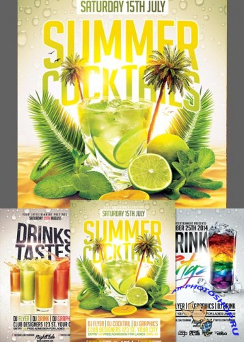 Drink Cocktails Flyer Bundle part 1