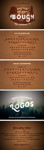 Bough. Vintage hand drawn typeface -