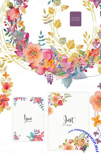 Floral set (vector& png files) - Creativemarket 141671