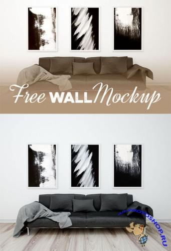 Triple Poster Frame PSD Mock-Up Template