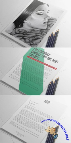 A4 Letter Presentation PSD Mock-Up Template
