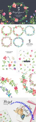 Creativemarket - Set of watercolour Floral Frames 65547