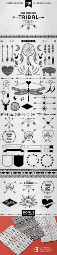 Creativemarket - Hand drawn tribal design vector pack 137661