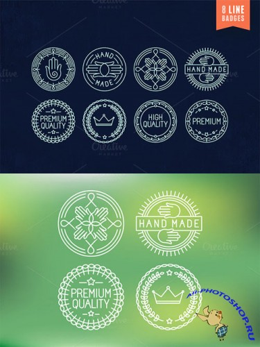 Creativemarket - 8 outline badges and labels 90083