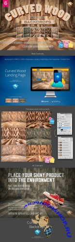Creativemarket - 6 Curved Wood Backdrops 292311