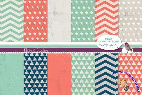 Coral Mint and Navi Blue Digital Graphic Patterns