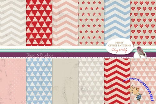 Cherry Red and Sky Blue Digital Graphic Patterns