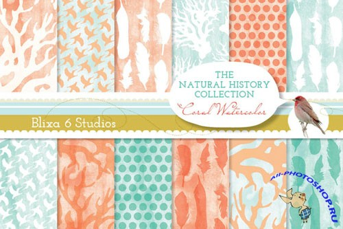 Creativemarket - Coral Watercolor Digital Papers 16608