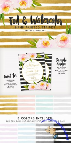Foil & Watercolor Stripes - Creativemarket 272344