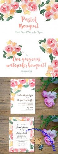 Creativemarket - Pastel Watercolor Bouquet Clipart 233933