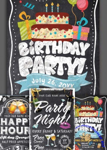 Chalk Party Flyer Bundle