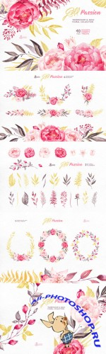 Gold Passion. Floral collection - Creativemarket 284760