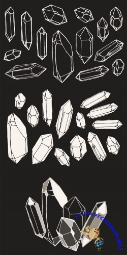 Crystal / Mineral / Gem Drawings - Creativemarket 155985