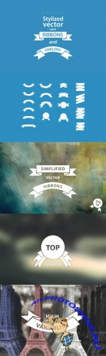 Simple vector ribbons - Creativemarket 8129