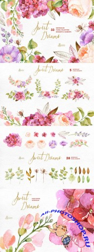 Sweet Dreams. Floral Collection - Creativemarket 291576