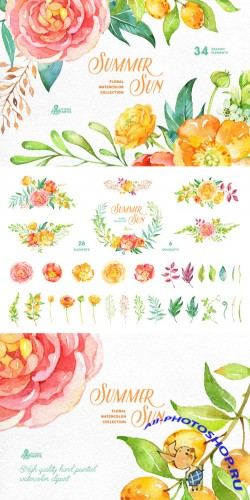 Summer Sun. Floral Collection - Creativemarket 272599