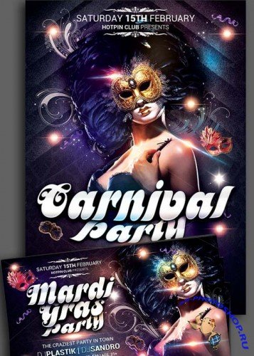 Carnival Mardi Gras Party Flyer + Facebook Cover