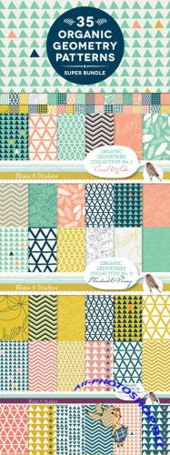 Creativemarket - 35 Organic Geometry Patterns Bundle 28029