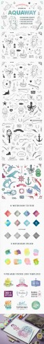 AquaWay - watercolored vector pack - Creativemarket 235364