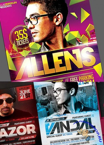 DJ Event Flyers Bundle part 2 +  Facebook Cover