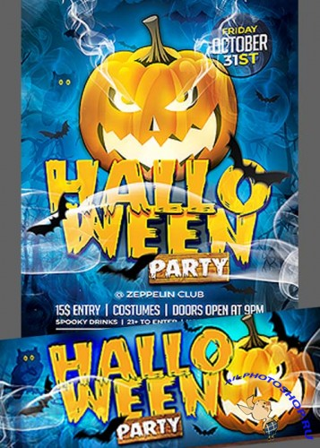 Halloween Flyer Template +  Facebook Cover