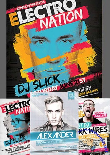 DJ Event Flyers Bundle part 3 + Facebook Cover