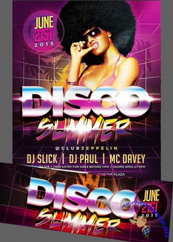 Disco Summer Flyer Template + Facebook Cover