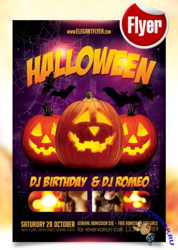 Halloween party Flyer Template + Facebook Cover