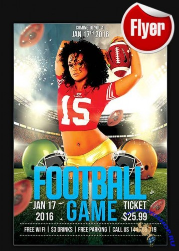 Football Game Flyer Template + Facebook Cover