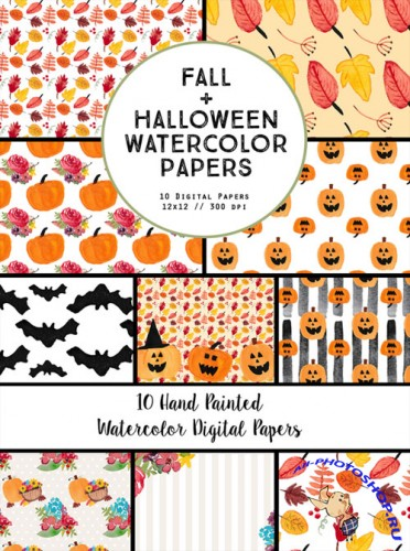 Creativemarket - Watercolor Fall Halloween Papers 360237