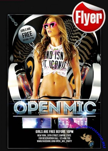 Open Mic Party Flyer Template + Facebook Cover