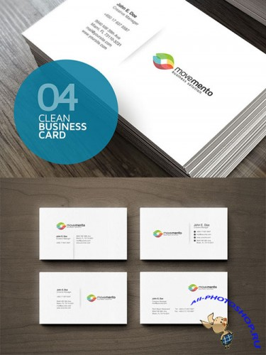 4 Clean Business Cards PSD Template