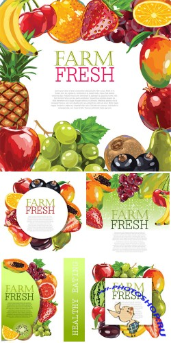 Assorted fruits, backgrounds vector