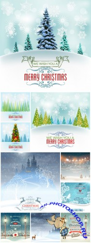 Christmas and New Year, vector winter background