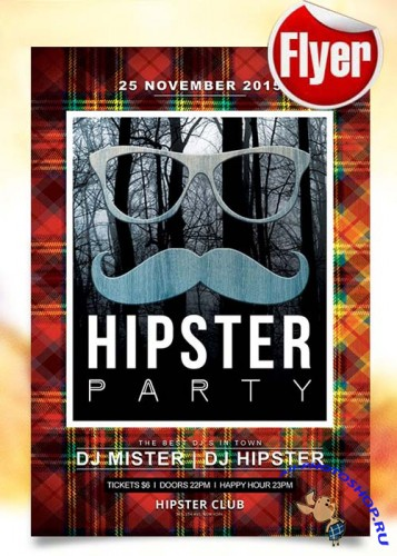 Hipster Party Flyer Template + Facebook Cover
