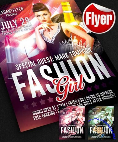 Fashion Girl Flyer Template + Facebook Cover