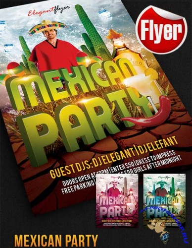 Mexican Party � Free Flyer PSD Template + Facebook Cover