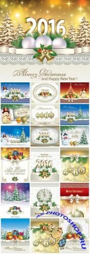 Christmas and new year, holidays vector backgrounds 2016