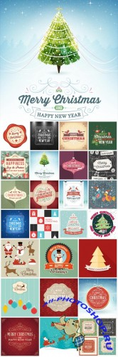 Christmas and new year, holidays vector background vintage 2016