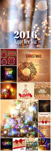 Christmas and New Year, vector backgrounds 2016